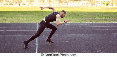 spur, sprint, gesunde, eins, start., activities., track., uniform., feld, energisch, stadion, rennender , läufer, übung, kaukasier, mann, sport, lebensstil, draußen, physisch, gummi
