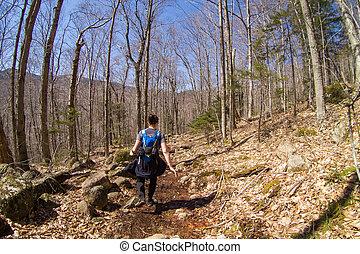 spur, woman, wandert