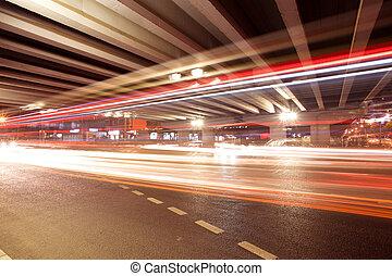 spuren, brücke, viadukt, unter, licht