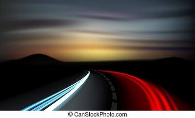 spuren, fahrzeuge, langer, autobahn, licht, aussetzung