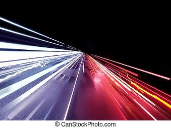spuren, licht, verkehr, auto