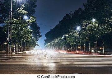 spuren, stadt verkehr, licht