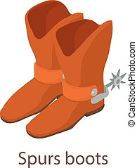 Spurs boots icon, isometric 3d style - Spurs boots icon....