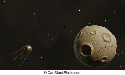 Sputnik flying in space near a larg