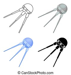 Sputnik One icon in cartoon style isolated on white background. Space symbol stock vector illustration.