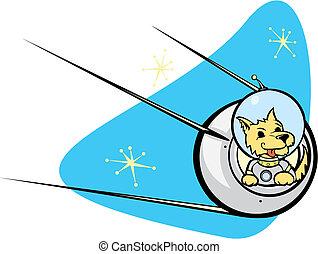 Sputnik Satellite and dog. - Retro Russian Satellite a space...