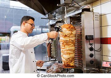 sputo, doner, chef, kebab, negozio, affettare, carne