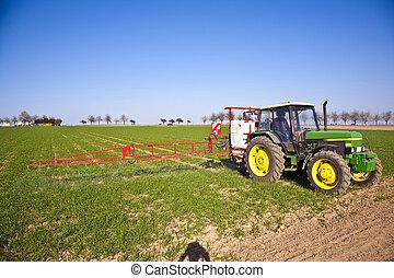 sputtering, peste, tractor, protección, campo