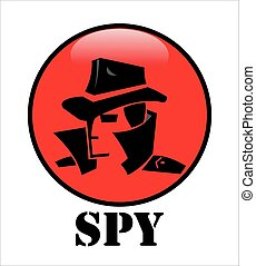 spy agent head on the red glossy cycle button