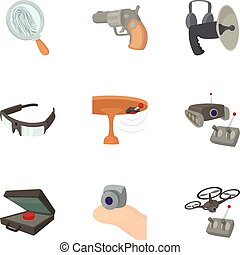 Spy agent icons set, cartoon style