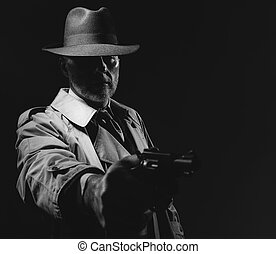 Spy agent pointing a gun
