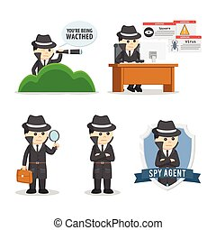 spy agent set illustration design