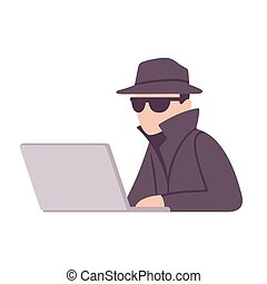 Spy agent surveillance illustration