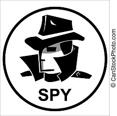 spy agent with hat, glasses and coat, in black and white