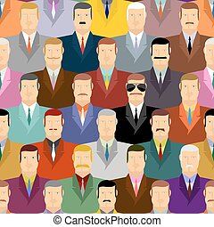 Spy and people. Secret agent in glasses among crowds of people. Vector seamless background