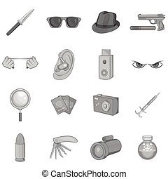 Spy and security icons set, black monochrome style