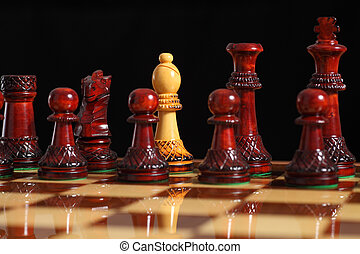 Spy bishop on the chessboard with a black background...
