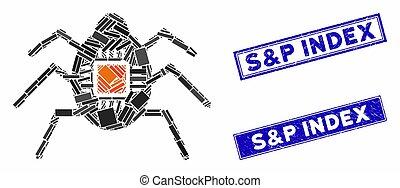 Spy Bug Mosaic and Distress Rectangle S&P Index Seals