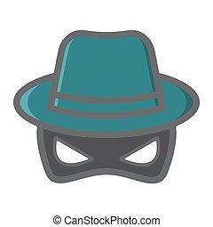 Spy colorful line icon, incognito and agent, vector...