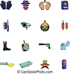 Spy comics icons set cartoon
