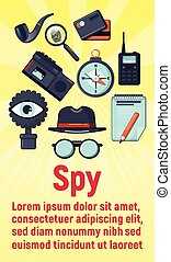 Spy concept banner, cartoon style - Spy concept banner....