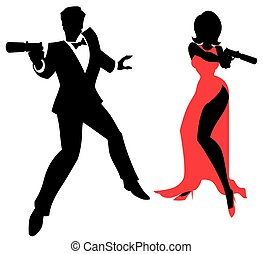 Silhouettes of spy couple over white background. No transparency and gradients used.