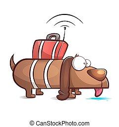 Spy dog - cartoon illustration.