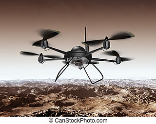 Spy Drone - Illustration of a spy drone scanning a...
