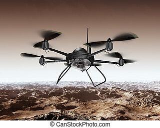 Spy Drone - Illustration of a spy drone scanning a...