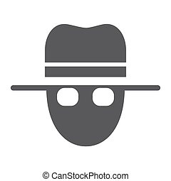 Spy glyph icon, private and detective, agent sign, vector...