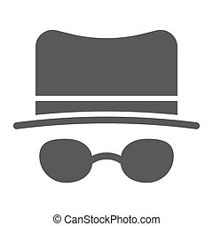 Spy glyph icon, spyware and person, detective sign, vector graphics, a solid pattern on a white background.