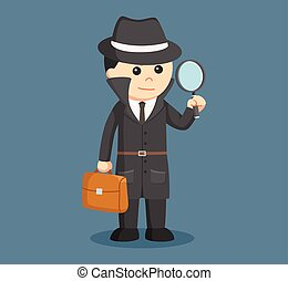 spy holding brief case and magnifying glass