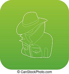 Spy icon green vector