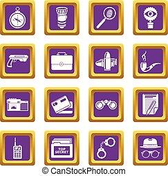 Spy icons set purple square vector
