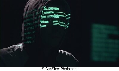 Spy is hacking the site of cyberpolicy. Black background