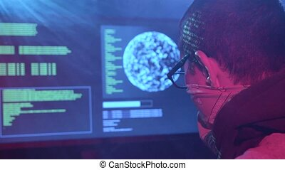 Spy is typing virus patches on the keyboard for hacking