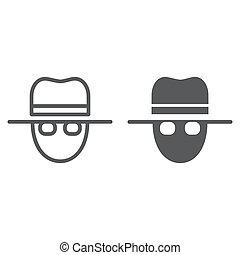 Spy line and glyph icon, private and detective, agent sign,...