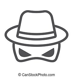 Spy line icon, incognito and agent, vector graphics, a...