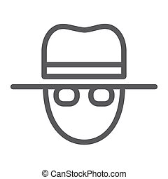 Spy line icon, private and detective, agent sign, vector...