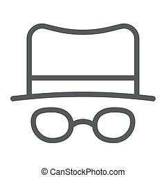 Spy line icon, spyware and person, detective sign, vector graphics, a linear pattern on a white background.