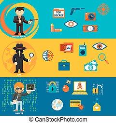 Spy, secret agent and cyber hacker characters - Spy, secret...
