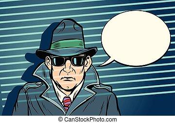 spy secret agent. Comic cartoon pop art retro vector ...