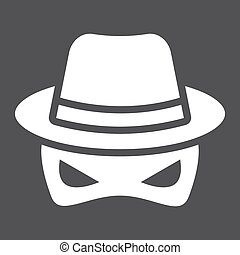 Spy solid icon, incognito and agent, vector graphics, a...