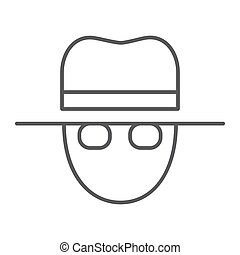 Spy thin line icon, private and detective, agent sign,...