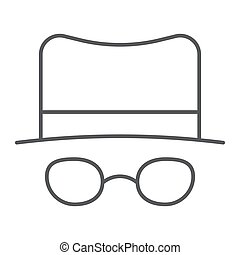 Spy thin line icon, spyware and person, detective sign, vector graphics, a linear pattern on a white background.
