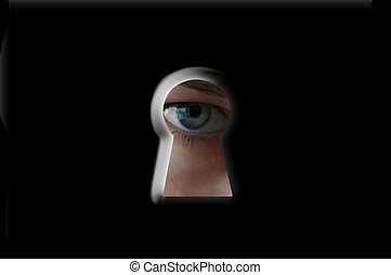 spy - To peep through a keyhole