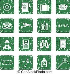 Spy tools icons set grunge