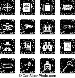 Spy tools icons set in grunge style isolated on white...