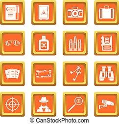 Spy tools icons set orange