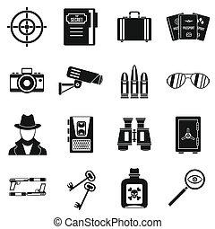 Spy tools icons set, simple style